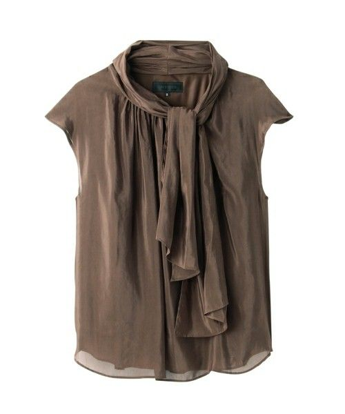 UNTITLED(アンタイトル)のボウタイシフォンシャツ(シャツ/ブラウス)|ブラウン
