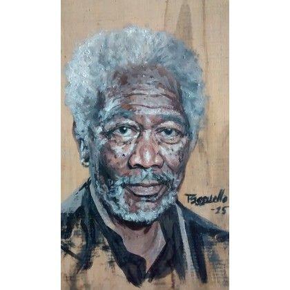 Morgan Freeman || Portrait de l'acteur Morgan Freeman réalisé à la détrempe à l'œuf, sur un panneau de bois recyclé. Une photographie trouvée sur le site www.moviepilot.de (disponible sur Google images) a été utilisée en guise de modèle.