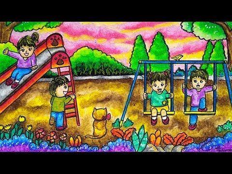 Cara Menggambar Dan Mewarnai Taman Bermain Gradasi Warna Oil Pastel Youtube Cara Menggambar Gambar Warna
