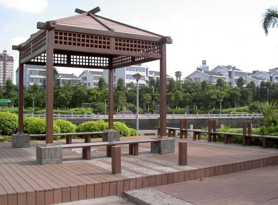 our wood plastic composite decking pavilion can be worked just like timber using standard woodworking tools - Deckideen Nz