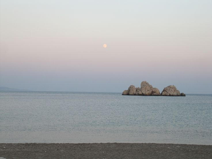 Full moon at Agios Georgios beach, Sikinos island, Greece