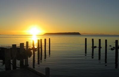The view of Mana Island from Plimmerton beach, Porirua, NZ
