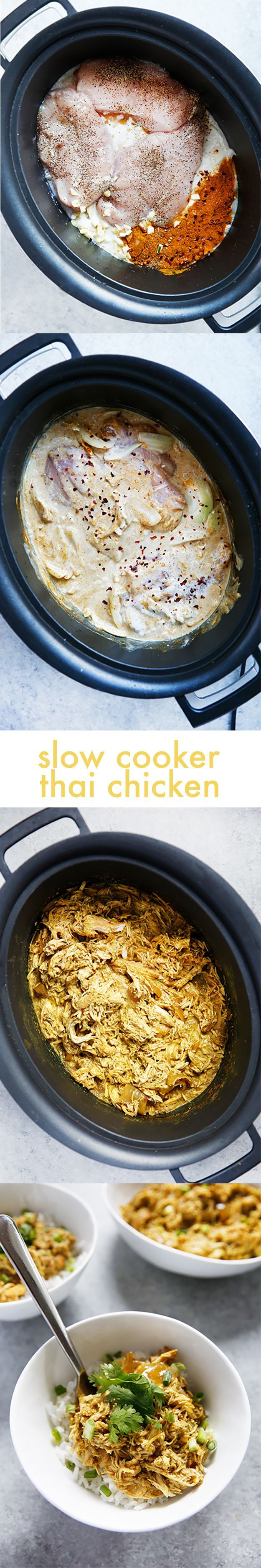 Slow Cooker Thai Curry Chicken! Easy, delicious, Whole30 sub in the notes. | Lexi's Clean Kitchen