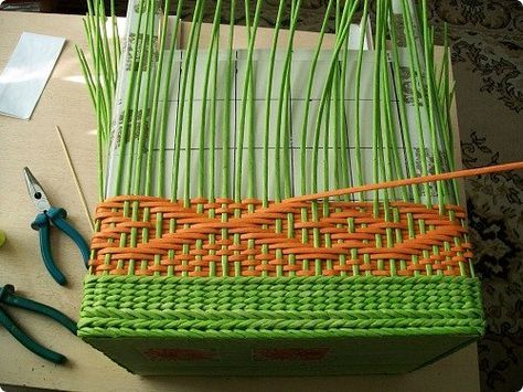 Поделка изделие Декупаж Плетение Схемы для ситца-2 Бумага Бумага газетная Трубочки бумажные фото 16