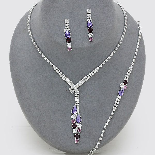 Purple and lilac necklace bracelet and earring set only £13.99 from WWW.GlitzyGlamour.co.uk (available in other colours)