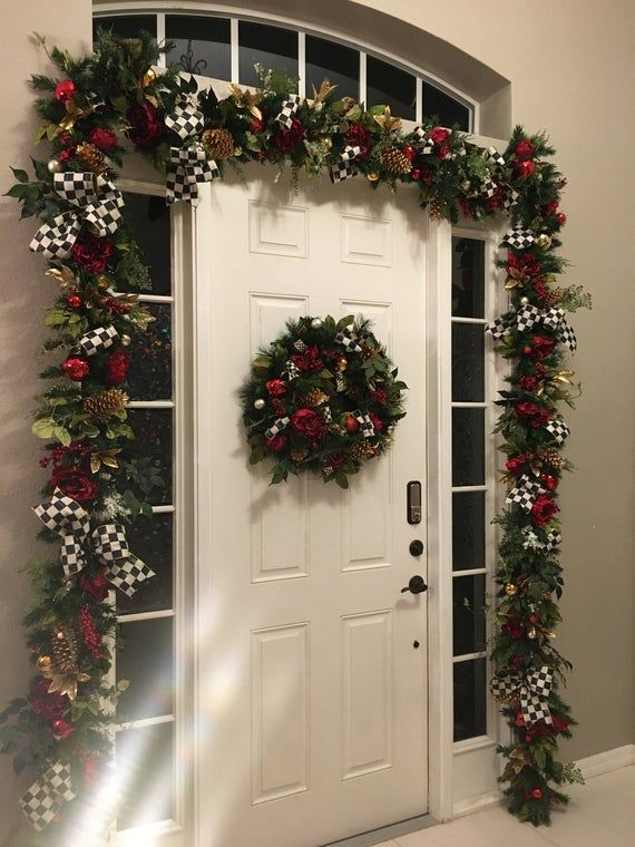 4pc Set Designer Inspired Christmas Wreath And Garland Set Pre Lit Cordless 3aa Auto Timer Light Led Pre Decorated Christmas Wreaths Wreaths And Garlands Christmas Decorations