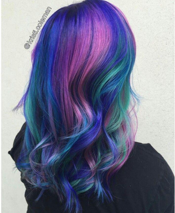 #galaxyhair #spacehair #rainbowhair #aurorahair #chakrahair