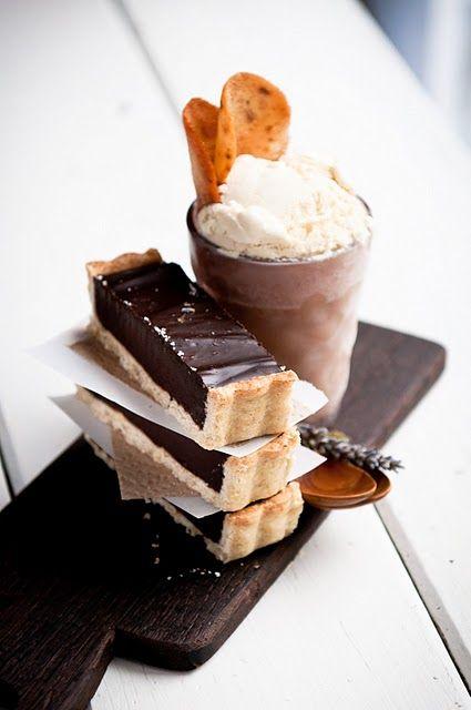 lavender honey ice cream, cardamom-Almond cookie, lavender honey cardamom lemon dark chocolate tart - recipes in link