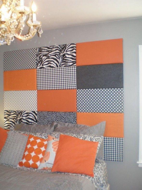 Tête de lit carrés de tissus