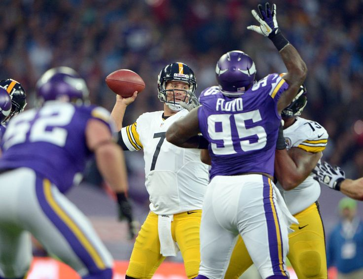NFL International Series - Steelers vs. Vikings in London | Sep 29, 2013; London, UNITED KINGDOM; Pittsburgh Steelers quarterback Ben Roethlisberger (7) throws a pass against the Minnesota Vikings in the NFL International Series game at Wembley Stadium. (Kirby Lee-USA TODAY Sports)