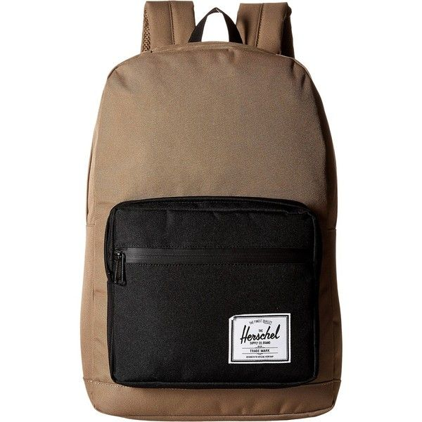 Herschel Supply Co. Pop Quiz (Lead Green/Black) Backpack Bags ($60) ❤ liked on Polyvore featuring bags, backpacks, brown, strap backpack, green laptop bag, laptop pocket backpack, pocket backpack and vertical-zip laptop backpack