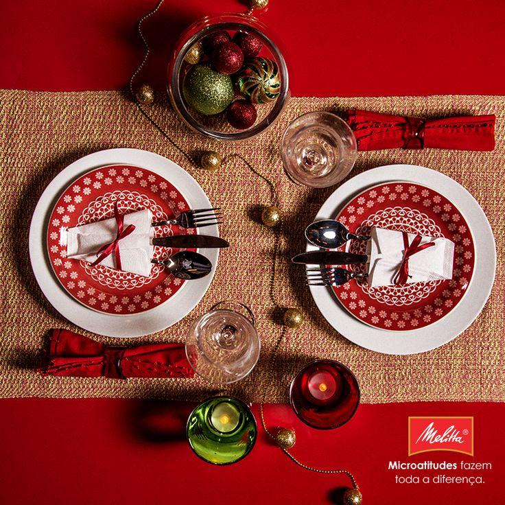 Além de passarem rapidinho o melhor do café, os Filtros Melitta também podem ser utilizados para deixar a mesa da ceia de Natal ainda mais bonita! Solte a imaginação e use como porta-talheres, decorados com fitas vermelhas. ;-)