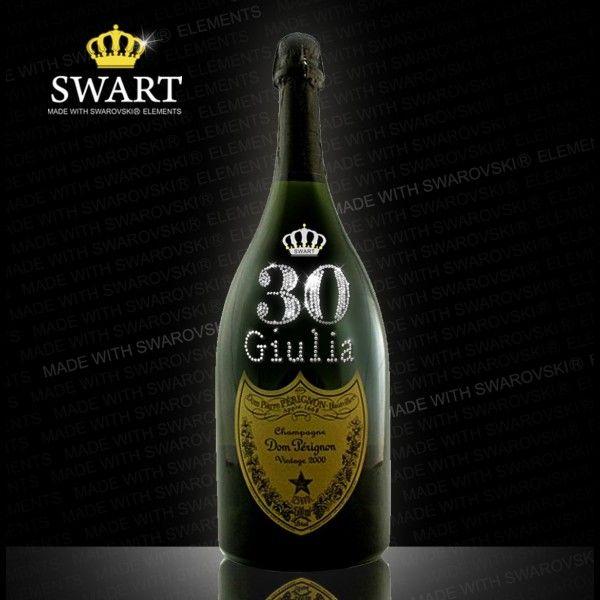 Champagne Dom Perignon Magnum da 1,5 litri. Bottiglia personalizzabile con età e nome in Swarovski.