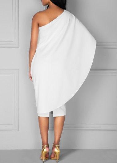 White One Shoulder Knee Length Dress   Rosewe.com - USD $33.08