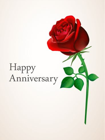 Red Rose Anniversary Card. An anniversary should be unforgettable, shouldn't it? Send our anniversary cards to make the day even more special. A rose is the traditional flower for expressing love. Send this anniversary card with a lovely message.