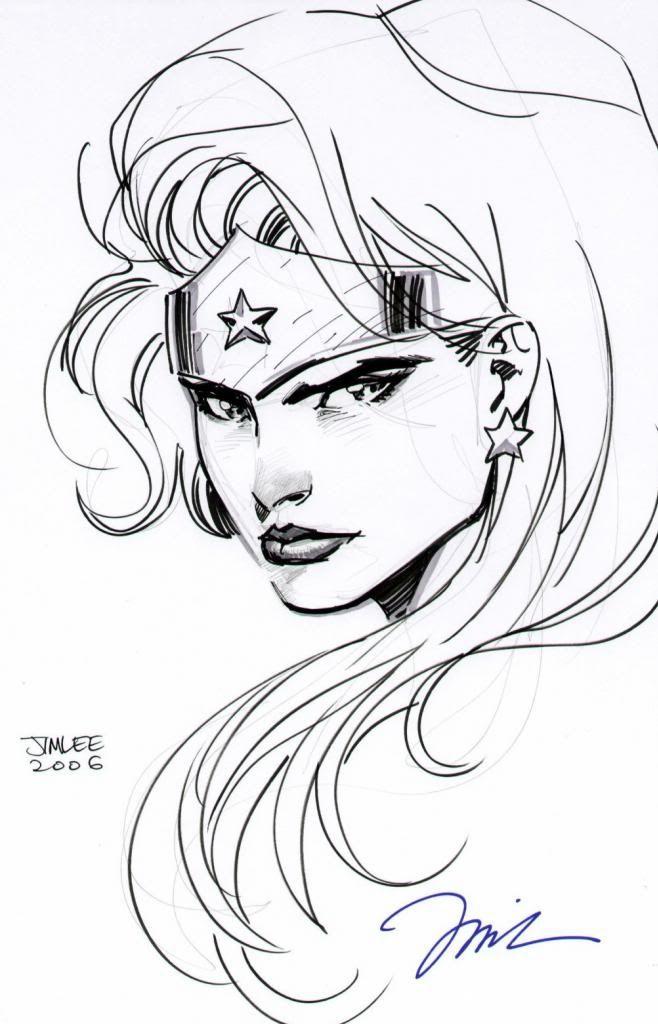 Amazing pen & ink Wonder Woman by Jim Lee.   Superhero ...