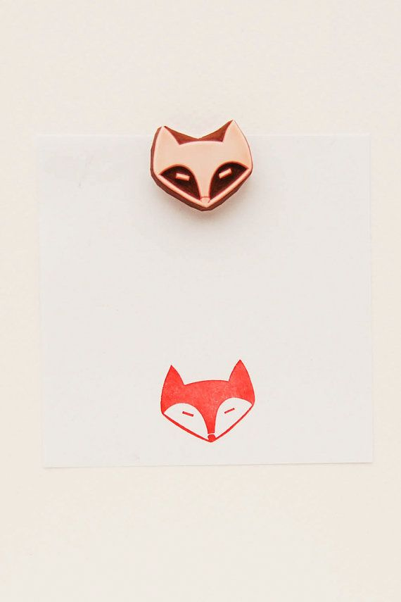 Dreamy fox Stamp Small hand carved simple rubber by WoodlandTale