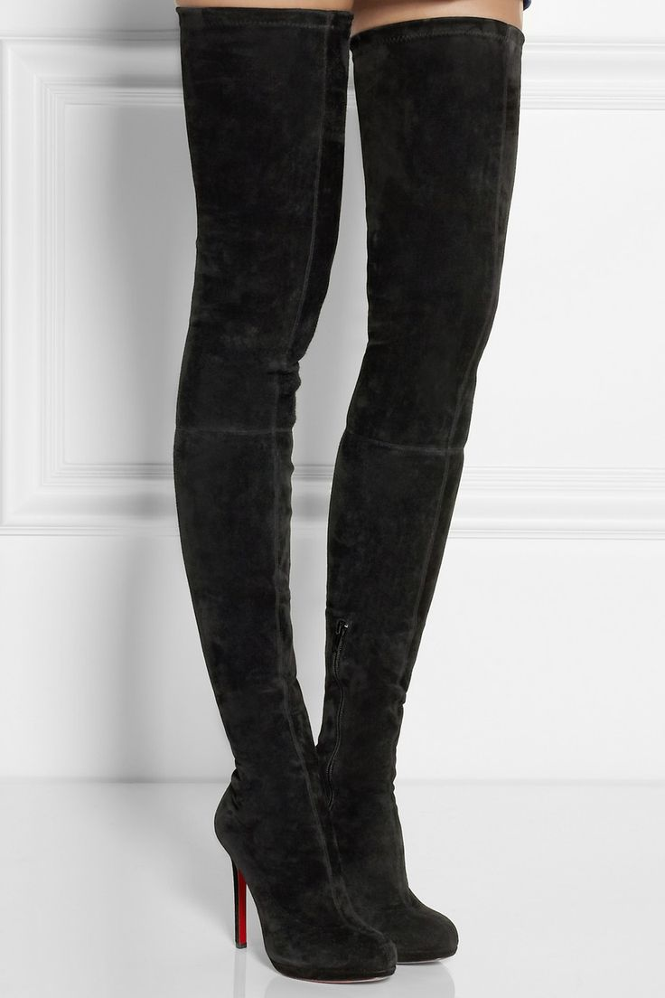Christian Louboutin | Louise XI 120 stretch-suede over-the-knee ...