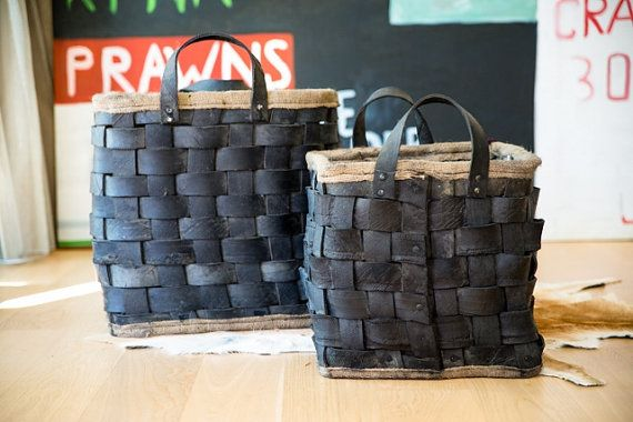 This is what recycling should be all about! Recycled Tyre Log Baskets on Etsy.