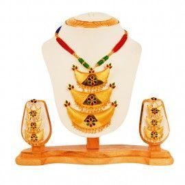 OnlinePlus- Traditional Assamese Jewelry   3 Pcs Taar Junbiri Pendant with 3 pcs Taar Junbiri Ear Rings