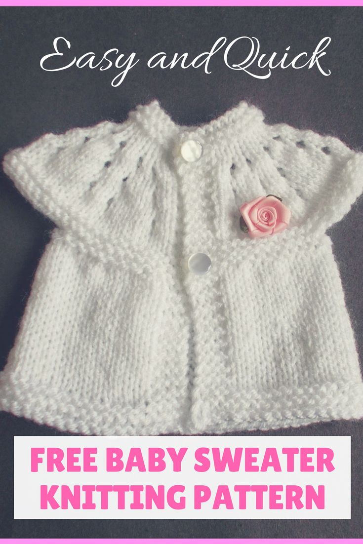 Beautiful Free Baby Sweater Knitting Pattern that is Free for you to try. Very cute, and fast, You'll have this made before you know it. Great for Preemie sweater too. #FREEBabySweaterKnittingPattern #Freeknittingpatter #BabySweaterknittingpattern