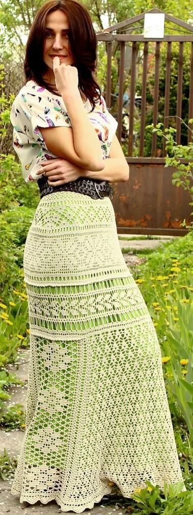beige crochet maxi skirt by TaramayKnit on Etsy
