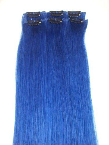 6 Pieces 20 Blue Highlights Streaks Clip on in 100% Human Hair Extensions by MyLuxury1st. $34.95. SHIPS IN 6-10 BUSINESS DAYS! IF YOU CAN NOT WAIT; DO NOT ORDER; QUESTIONS? CONTACT MYLUXURY1ST HAIR EXTENSIONS