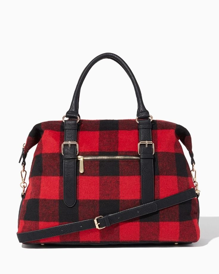 AHHHHHHHH!!!!! SO cute!  charming charlie | Winter Plaid Weekender Tote | UPC: 400000028095 #charmingcharlie