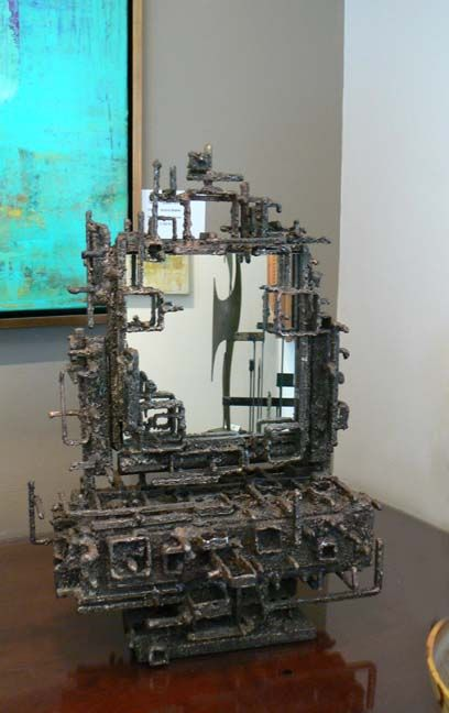 Metal Sculptured box with Mirror by James Bearden (drawer opens)