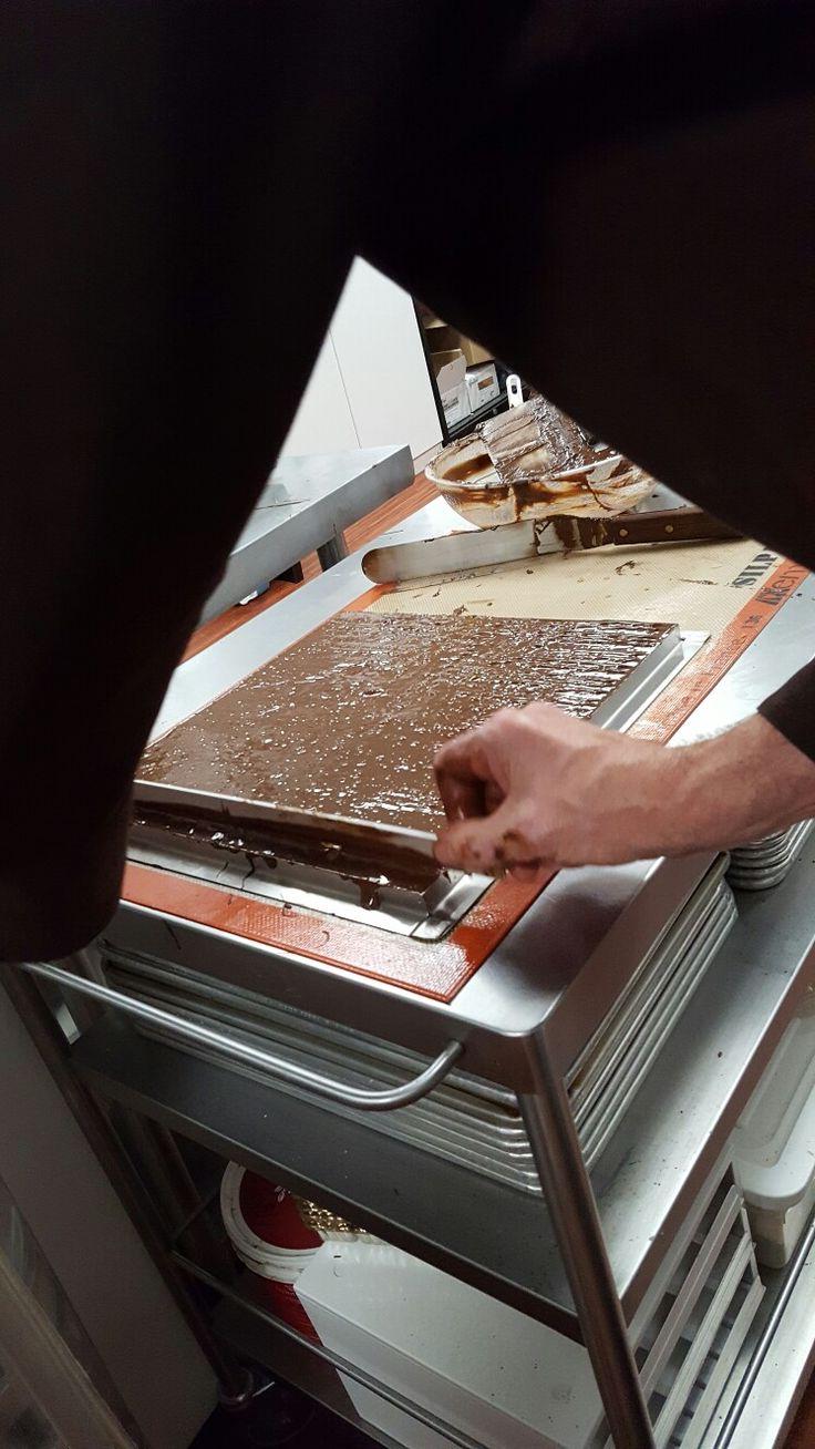 Hazelnut Crunch Bars in the works