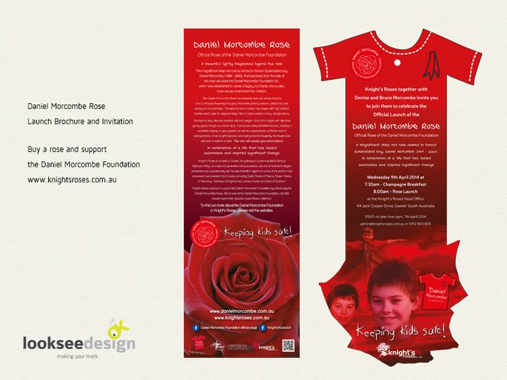 Daniel Morcombe Rose Launch Invite and Brochure - Designed by Looksee Design