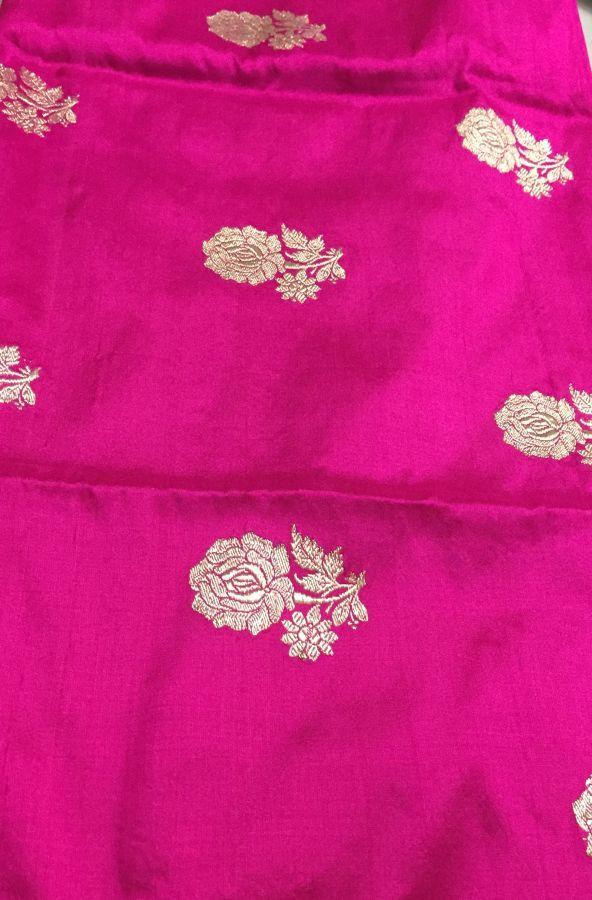 Magenta pure katan silk fabric with kadwa Gulaab boota