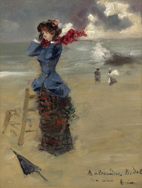 Jean-Louis Forain - Elegant Woman at the Beach [1885]