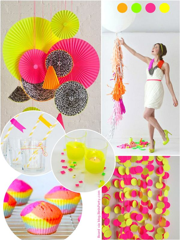 Trendy Neon Birthday Party Ideas  Streamers, Craft papers and Neon