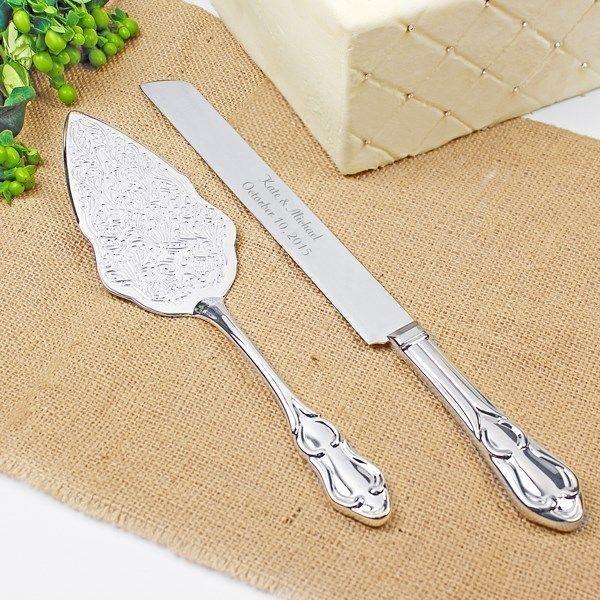 Embossed Silver Wedding Cake Serving Set Engraved Cake Knife & Cake Server Set