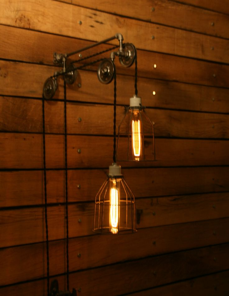 Industrial pulley light trolley wall light hanging - Lights to hang on wall ...