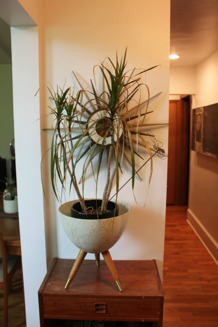 Small Living Room Diy Tv Over Fireplace Vtg Mid Century Modern Bullet Planter Teak Fiberglass ...