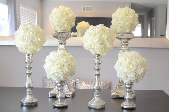 "Set of 6 Luxury Elegant 8"" Wedding ivory hanging foam flower balls wedding pomanders kissing balls, WEDDING CENTERPIECE, flower girl"