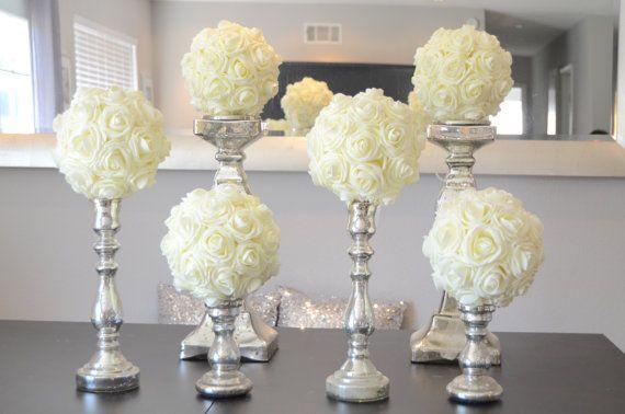 "Set of 6 Luxury Elegant 8"" Wedding ivory hanging foam flower balls wedding pomanders kissing balls, WEDDING CENTERPIECE, flower girl"