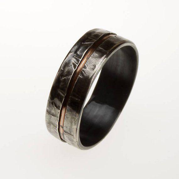 Mens Ring Silver Copper Unique Mens Ring Men Wedding Etsy Unique Mens Rings Rings For Men Rustic Mens Rings