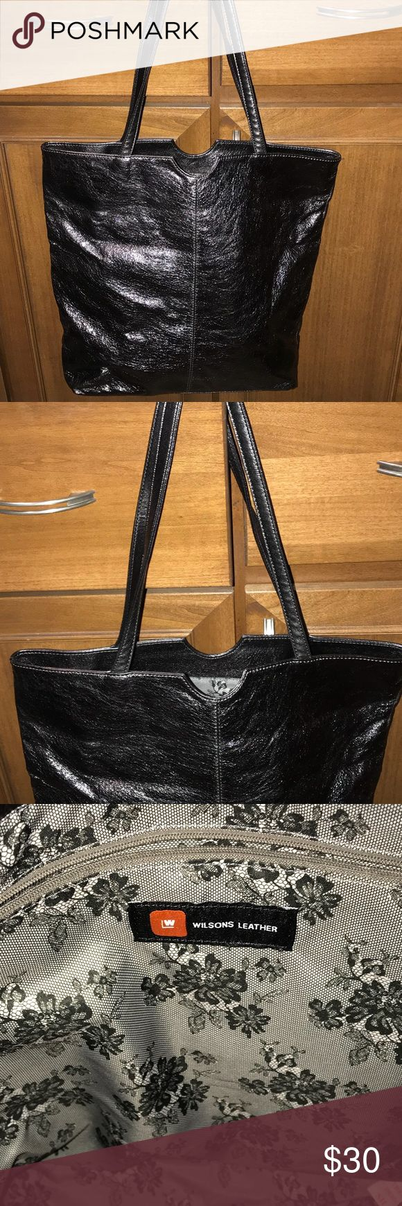 Wilson's Leather Silver Tote Bag Wilson's Leather Tote height is 15' high by 16'wide. 2 handles drop length is 11'.  Ew never used. Smoke free home. Wilsons Leather Bags Totes