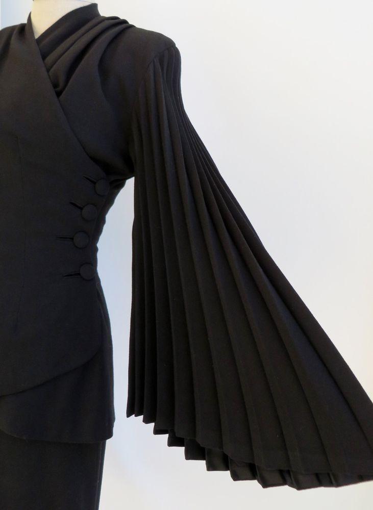 Vintage 1940s Lilli Ann Dress Suit Jacket Skirt Designer Black Wool Satin S