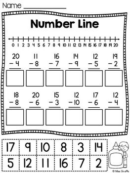 Subtraction within 20 Number Lines worksheets and activities that are differentiated and fun