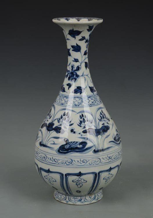 Yuan Dynasty Chinese Blue and White Yuhuchuan Vase H 32 cm