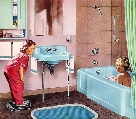 Cute 1950s Pink And Blue Bathroom