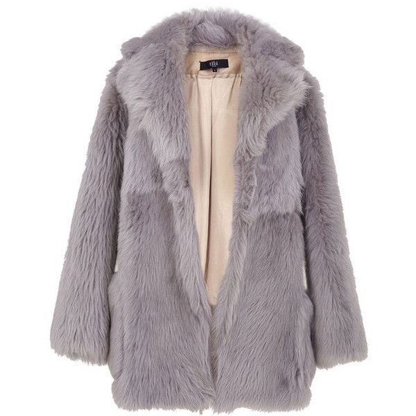 Tibi Shearling Toscana Peacoat (12,005 SAR) ❤ liked on Polyvore featuring outerwear, coats, jackets, fur, coats & jackets, grey, grey peacoat, grey coat, grey shearling coat and shearling coat
