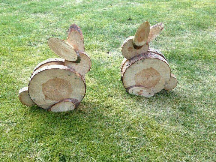 Osterhasen aus Holz. Niedlich