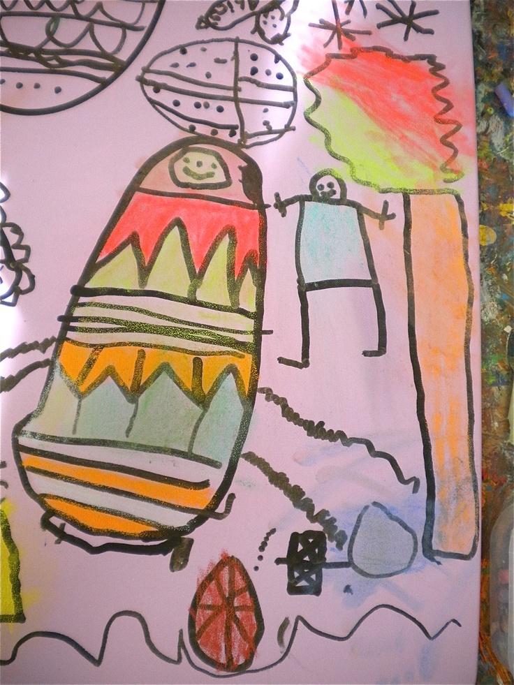 Tekenen met Oost-Indische inkt op canvas, inkleuren met pastelkrijt, vervagen met watten