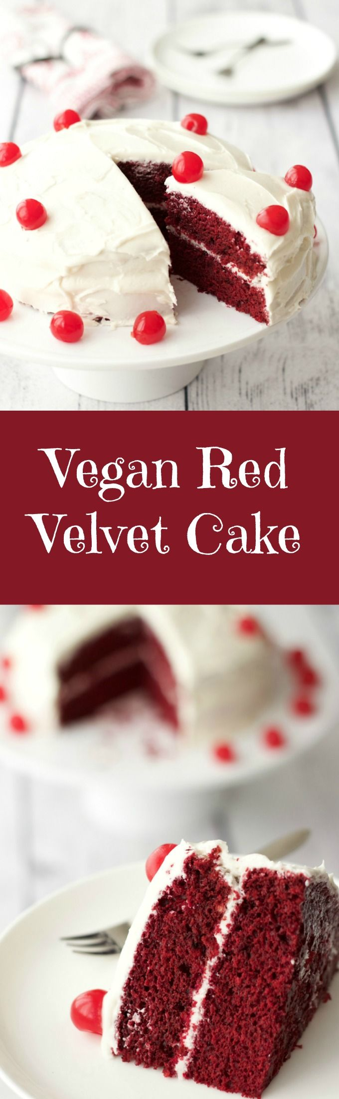 Rich, moist and smooth vegan red velvet cake topped with lemon buttercream frosting and maraschino cherries. #vegan #dairy-free #lovingitvegan #redvelvet