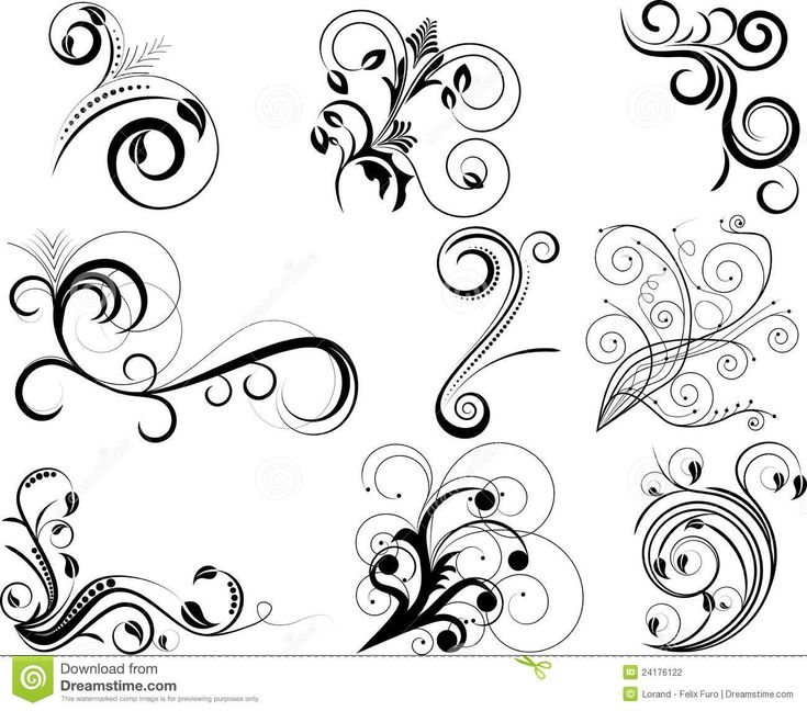 line art drawings of swirls | Set of swirl floral design elements.